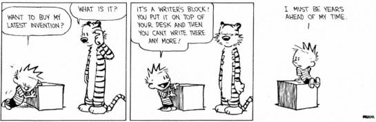 Calvin Hobbes Writer's Block