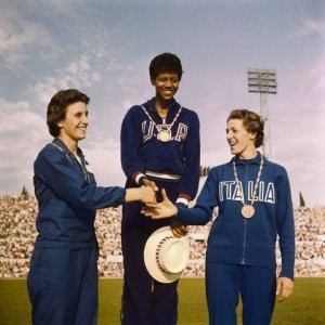 Wilma wins gold in the 100-meter dash.  Image © Bettmann/CORBIS.