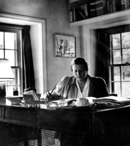 Pearl S. Buck at her writing desk.