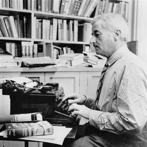 The writer William Faulkner at work.